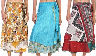 Stylo Culture Indian Wrap Midi Skirt 2 Layered Cover-Ups Swimwear Beach Wrap Skirt Wholesale Lot Art Silk Magic Wrap Womens Printed Knee Length Skirts 3 Pc Lot