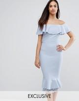 Vesper Off Shoulder Frill Pencil Dress With Lace Insert