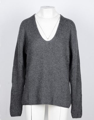 NOW Anthracite Cashmere and Wool Women's V-Neck Sweater