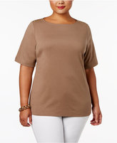 Karen Scott Plus Size Cotton Button-Shoulder T-Shirt, Only at Macy's
