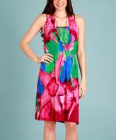 Pink & Green Abstract Layered Dress