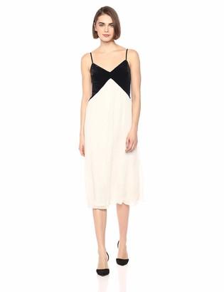 AVEC LES FILLES Women's Pleated Dress with Velvet Top Ivory/Black 10