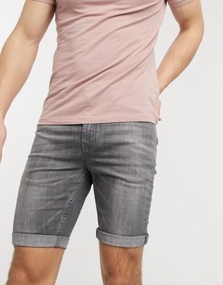 New Look skinny denim shorts in gray