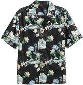 H&M Patterned Short-sleeved Shirt - Dark blue/floral - Men