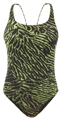 Ganni Tiger-print Crossover-back Swimsuit - Womens - Multi