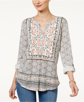 Style&Co. Style & Co Petite Mixed-Print Split-Neck Top, Only at Macy's