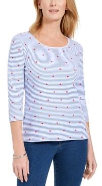 Karen Scott Petite Mixed-Print 3/4-Sleeve Top, Created for Macy's
