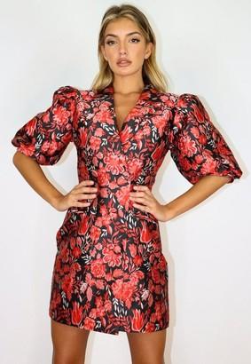 Missguided Red Brocade Puff Sleeve Blazer Dress