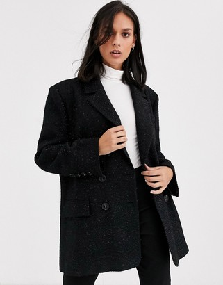 Asos Design DESIGN oversized dad blazer in boucle-Black