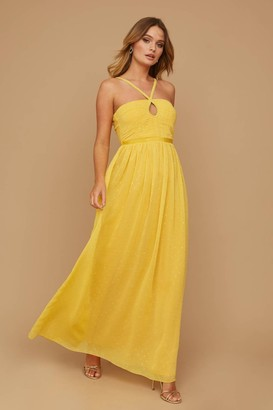 Little Mistress Brandy Yellow Lurex Keyhole Maxi Dress