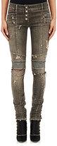 Balmain Women's Distressed Skinny Moto Jeans