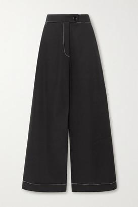 Renaissance Renaissance - Louis Topstitched Cotton-twill Wide-leg Pants - Black