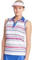 Izod Women's Striped Embossed Trim Sleeveless Golf Polo