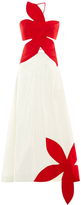 Rosie Assoulin Silk Flower Stamp Bicolor Gown