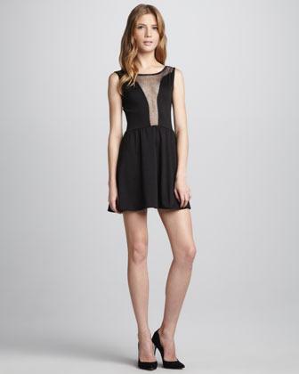 Lulu For Love & Lemons Shimmery Mesh-Inset Dress