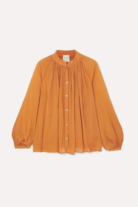 Forte Forte Cotton And Silk-blend Voile Blouse - Orange