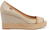 Tory Burch Majorca Leather-Trimmed Metallic Canvas Wedge Sandals