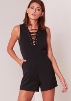 Missy Empire Kesha Black Lace Up Front Playsuit