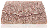 Nina Beaded Scalloped Satin Clutch