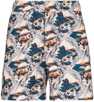 Orlebar Brown Bulldog summer scene swim shorts