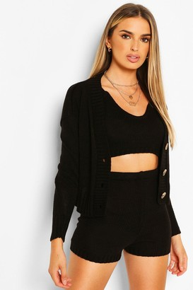 boohoo Knitted Bralet Shorts & Cardigan Co-ord