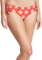 MICHAEL Michael Kors Lace-Up Print Swim Bikini Bottoms, Pink