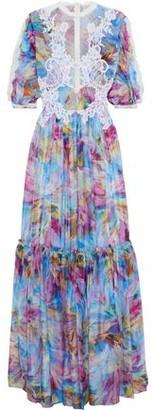 Costarellos Point D'esprit-paneled Appliqued Printed Silk-chiffon Gown
