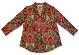 Charter Club Paisley Pleated V-Neck Top, Created for Macy's