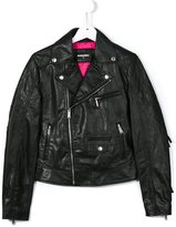 DSQUARED2 fringed biker jacket - kids - Calf Leather/Polyester - 14 yrs