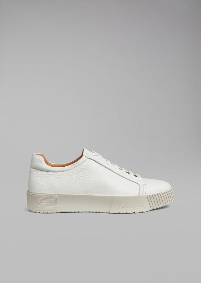 Giorgio Armani Deerskin Sneakers With Logo Heel Detail