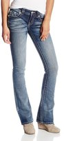 Miss Me Embroidered Floral Bootcut Jean with Accent Stitching