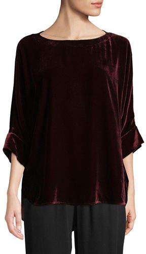 Eileen Fisher Dolman-Sleeve Velvet Top, Petite