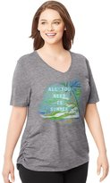 Just My Size Women`s Plus-Size Short-Sleeve V-Neck Graphic T-Shirt with Side Shi