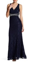 Sequin Hearts V-Neck Lace Gown
