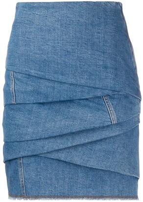 Philosophy di Lorenzo Serafini Gathered Denim Mini Skirt