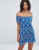 Miss Selfridge Embroidered Bardot Shift Dress