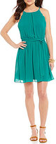 I.N. San Francisco High Neck Scalloped Armholes Tie-Sash A-Line Dress