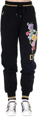 Dolce & Gabbana Black Cotton Sport Trousers With Floral Embroidery
