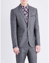 The Kooples Geometric-pattern slim-fit wool jacket