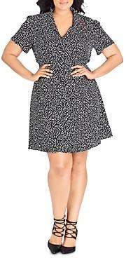City Chic Plus Short-Sleeve Heart Print Dress