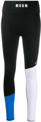 MSGM Contrast Panel Logo Print Performance Leggings
