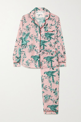Desmond & Dempsey Bromley Parrot Printed Organic Cotton-voile Pajama Set - Pink