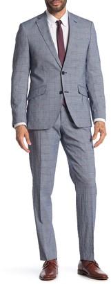 Savile Row Co Hoxton Blue Plaid Two Button Notch Lapel Slim Fit Suit