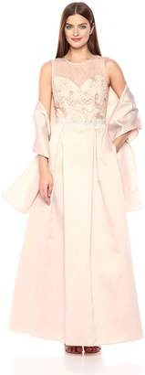 Alex Evenings Women's Embroidered Ballgown with Embellished Waist and Shawl Dress