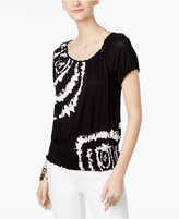 INC International Concepts Petite Tie-Dyed Peasant Top, Only at Macy's