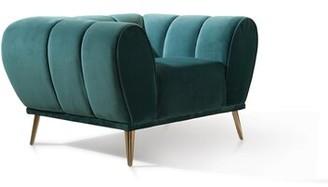Brayden Studio Benedicta Club Chair Fabric: Teal Velvet