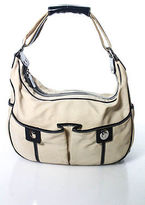 Tod's Tods Beige Leather Trim Small Pocket Front Hobo Handbag