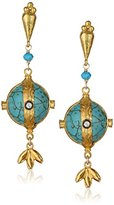 "Azaara Florentine"" 22k Yellow Gold-Dipped Sterling Silver, Turquoise, and Cubic Zirconia Earrings"