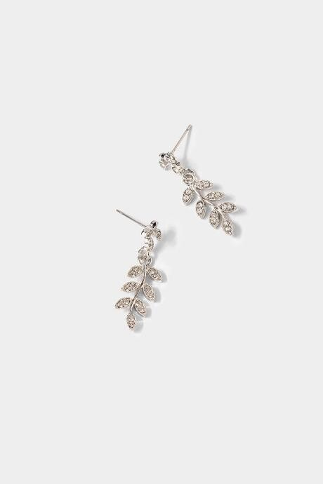 francesca's Myranda CZ Pave Leaf Drop Earrings - Silver