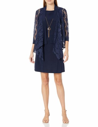 Tiana B T I A N A B. Women's Lace Jacket with Solid Jersey Dress and Beaded Necklace